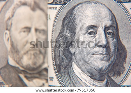 Close up image of a hundred dollar bill.