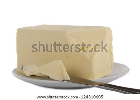 Close-up image of a plate with creamy butter over the white background - stock photo