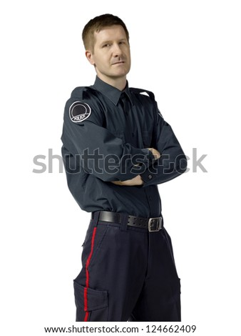 Close-up image of a policeman with folded arm isolated on a white surface