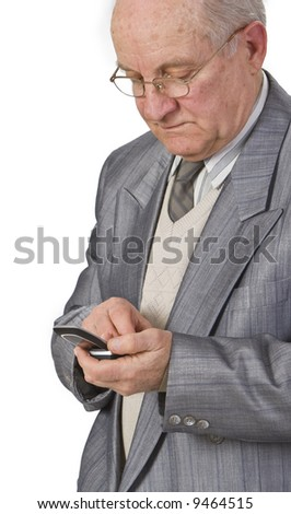 Close-up image of a senior man using a mobile phone. - stock photo