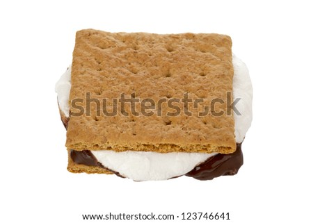 Close-up image of a smore displayed on white background. - stock photo