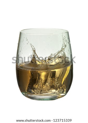 Close-up image of a splashing glass of brandy on a white background