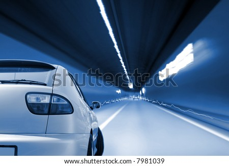 Close-up image of a sport car in a tunnel