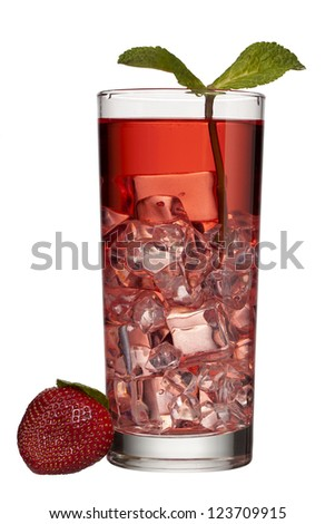 Close-up image of a strawberry punch drink isolated on a white background