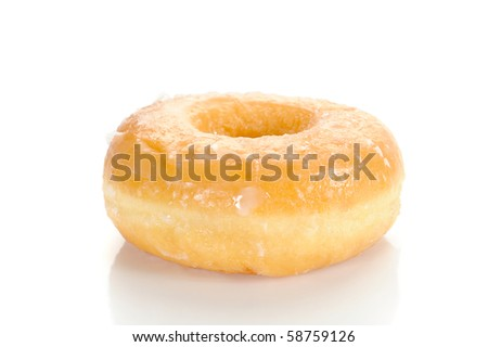 Close-up image of a sugar glazed donut studio isolated on a white background
