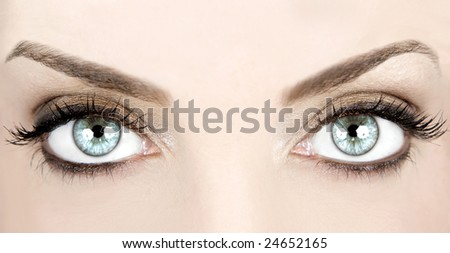 Close-up image of a woman's beautiful blue eyes - stock photo