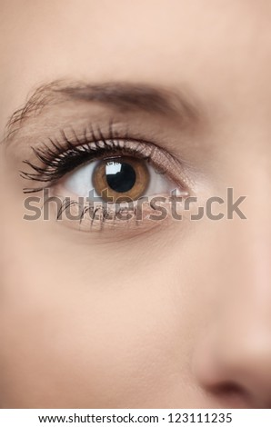 close up image of a womans eye - stock photo