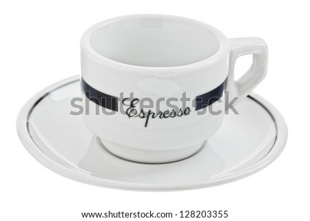 Close-up image of an empty espresso cup isolated on a white surface - stock photo