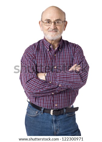Close-up image of an old man wearing a casual wear with arm crossed smiling on a white background - stock photo