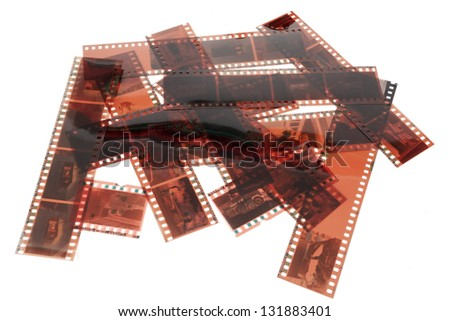 Close up image of an old 35 mm negative film strip - stock photo