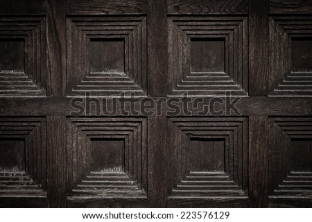 close-up image of an wooden ancient door - stock photo