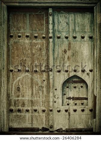 close-up image of ancient doors - stock photo