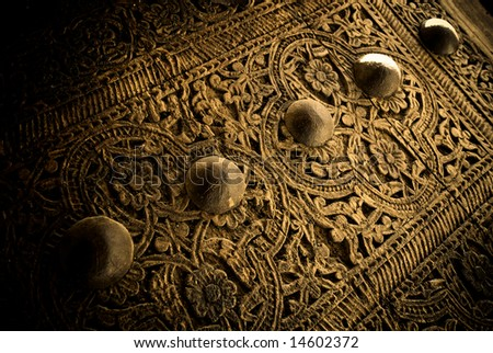 close-up image of ancient doors, very shallow focus - stock photo