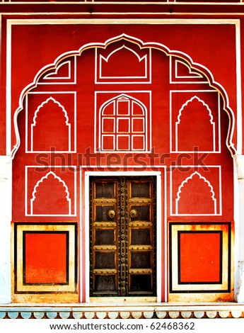 close-up image of ancient India doors - stock photo