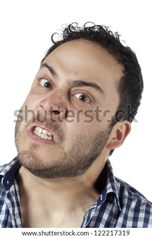 Close up image of angry face of a man against white background - stock photo