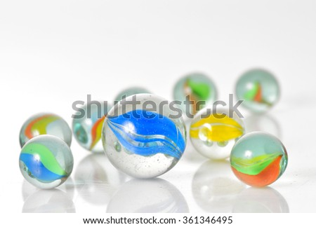 Close up image of assorted marbles - stock photo