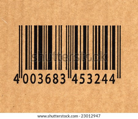 close up image of barcode on cardboard - stock photo
