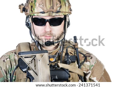 Close up image of bearded special warfare operator in protective helmet - stock photo