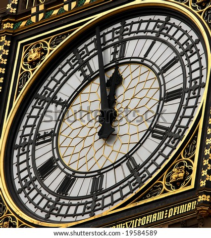 Close up image of Big Ben clock tower in London, UK. - stock photo