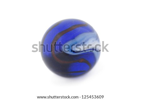 Close-up image of blue glass marble against the white background - stock photo
