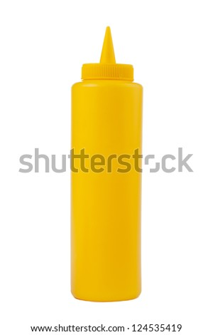 Close up image of bottle of mustard against white background