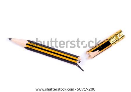Close-up image of broken pencil - stock photo