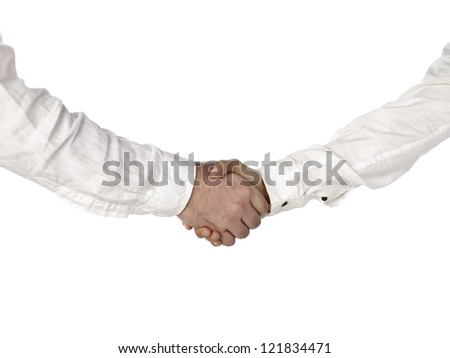 Close up image of business people hand shake against white background