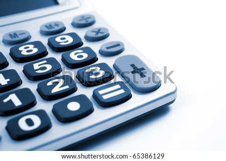 Close up image of Calculator isolated in white