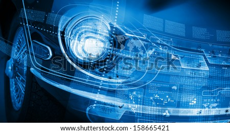 Close up image of car headlight. Innovation concept - stock photo