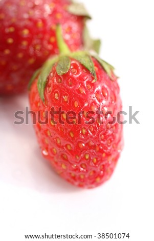 close up image of clean and fresh strawberries