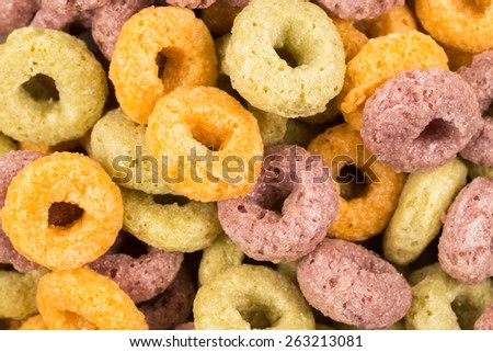 Close up image of colorful cereal against white background - stock photo
