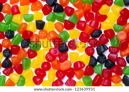Close-up image of colorful hard jelly candies.