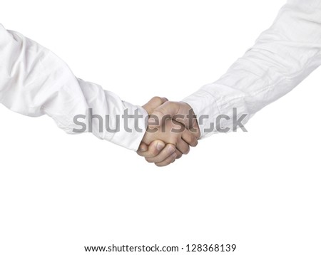 Close up image of corporate hands shake against white background