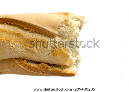 Close up image of crusty baguette - stock photo