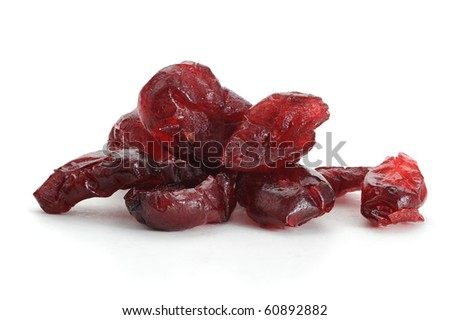 Close-up image of dry cranberries studio isolated on white background - stock photo