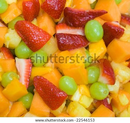 Close up image of fresh fruit salad - stock photo
