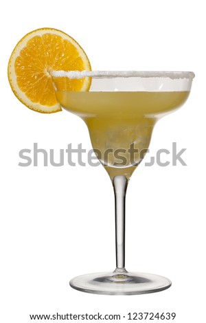 Close up image of glass of orange margarita