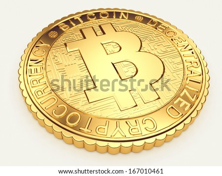Close-up image of golden Bitcoin coin, decentralized crypto-currency   - stock photo