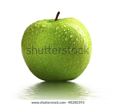 close up image of green apple with water drop on the skin - stock photo