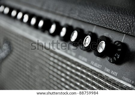 close up image of guitar amplifier - stock photo
