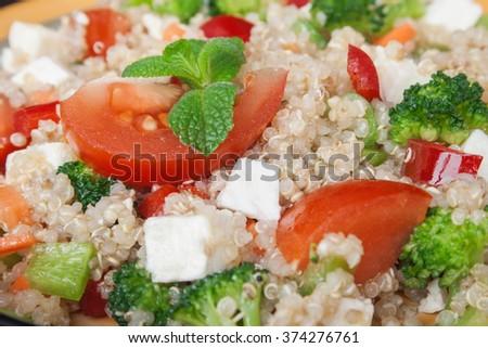 Close up image of healthy quinoa salad. - stock photo
