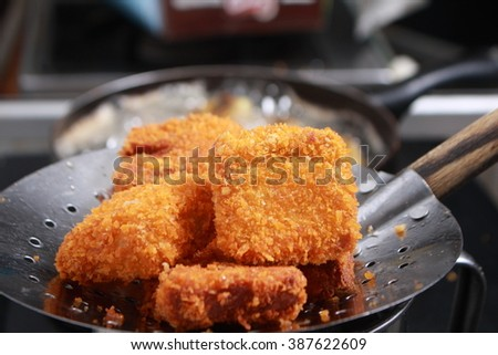 Close up image of homemade chicken nuggets tempura deep fry cooked - stock photo