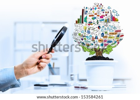 Close-up image of human hand and pot with money tree - stock photo