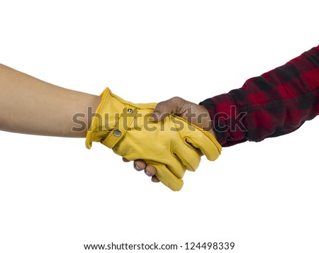 Close up image of human hand making shake hands against white background