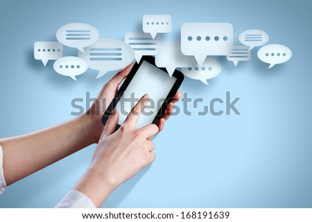 Close-up image of human hands holding smartphone - stock photo
