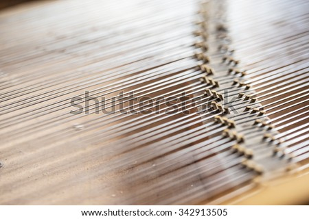 Close up image of interior of grand piano showing strings and structure - stock photo