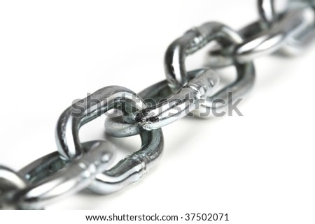 close up image of iron chain on white board - stock photo