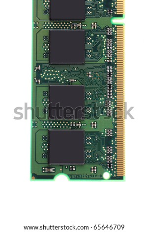 close up image of memory module over white - stock photo
