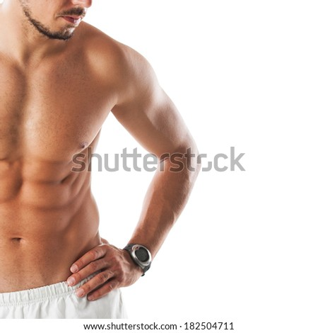 close up image of muscular perfect male torso - stock photo