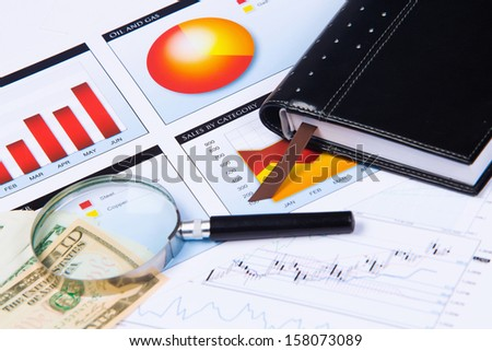 Close up image of office workplace with cup of coffee and documents